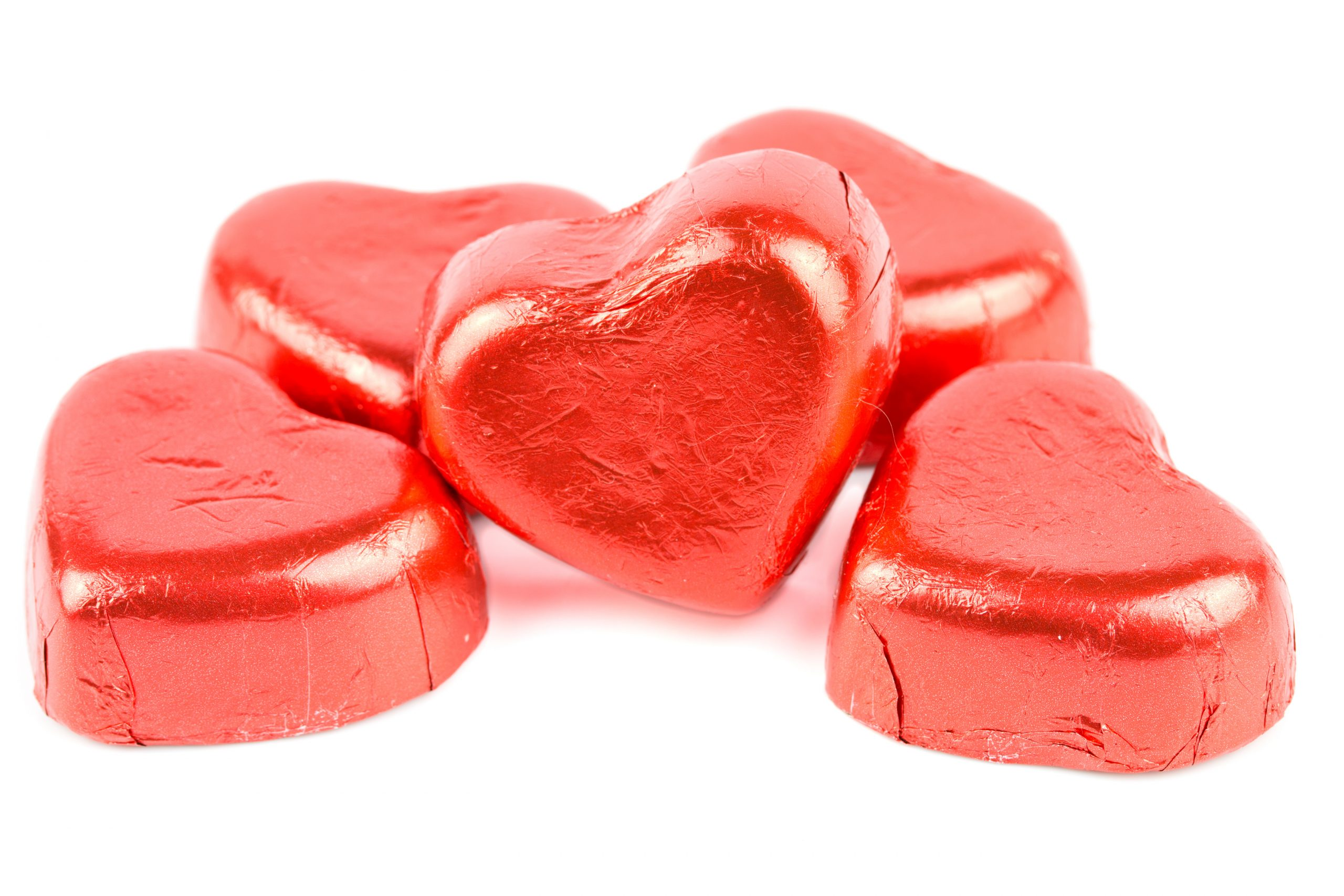 chocolate candy red heart isolated on white background.