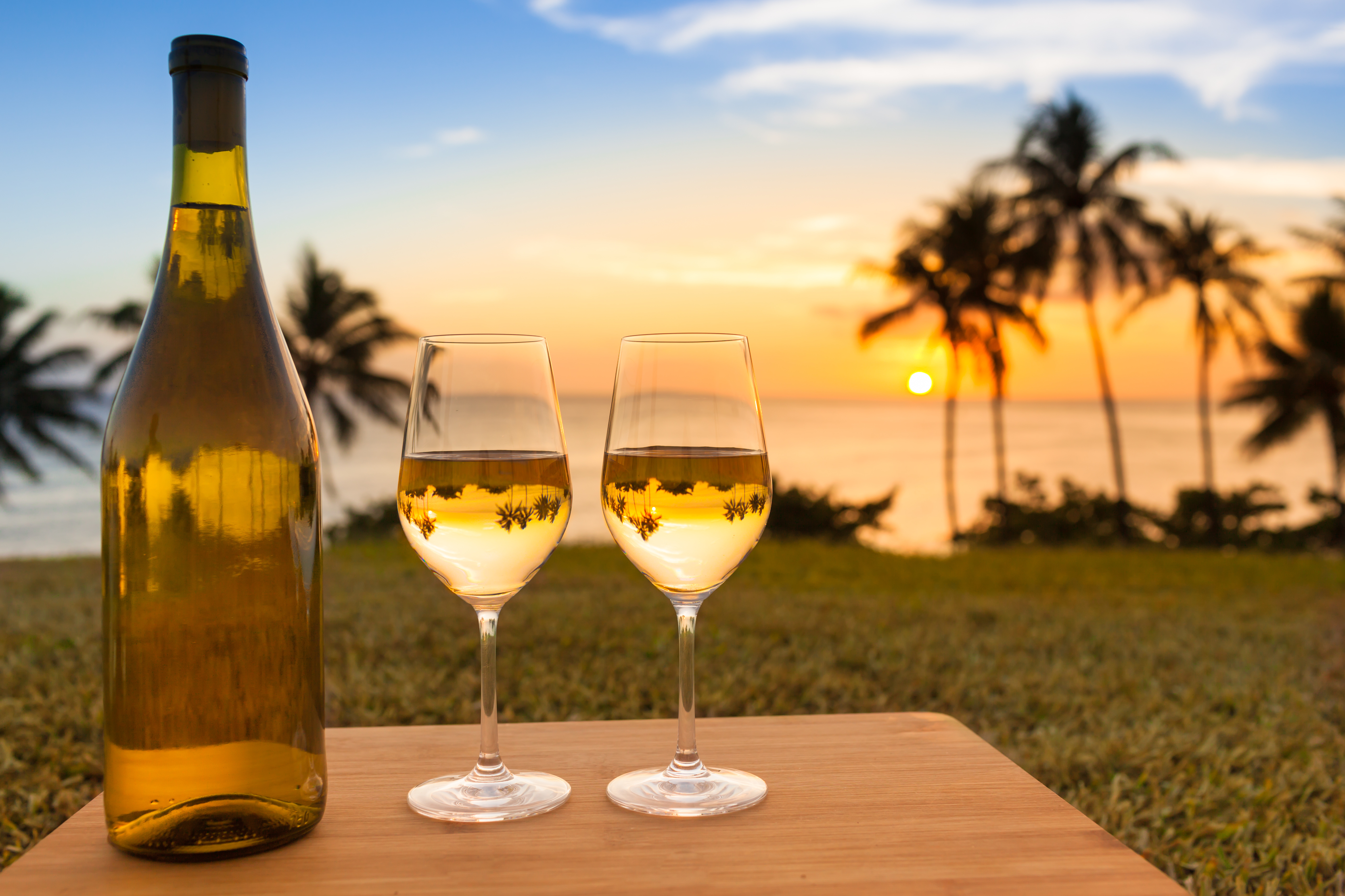 Pair of wine glasses and bottle of wine on a beautiful tropical beach.